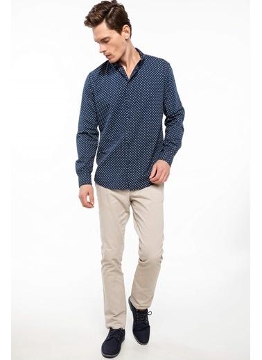 DeFacto Slim Fit Desenli Gömlek Mavi